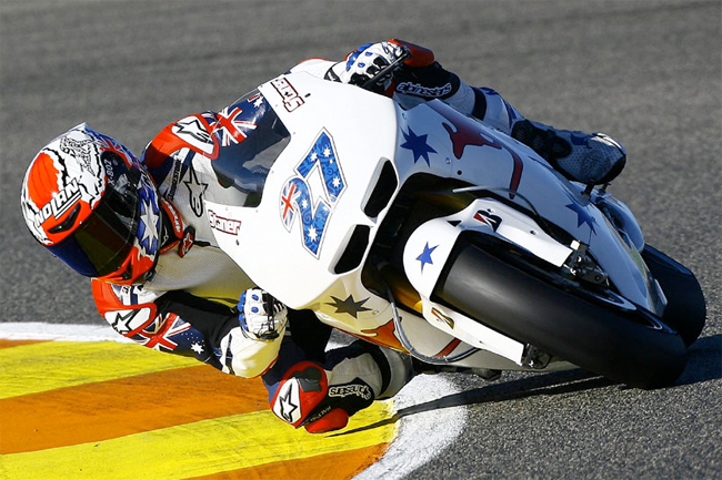 Casey Stoner impressed on an Australian-themed factory Honda on debut at Valencia. Image: MCN.