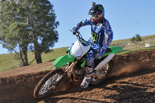 Factory Monster Energy Kawasaki rider Billy Mackenzie was on hand during the launch. Image: Alex Gobert.