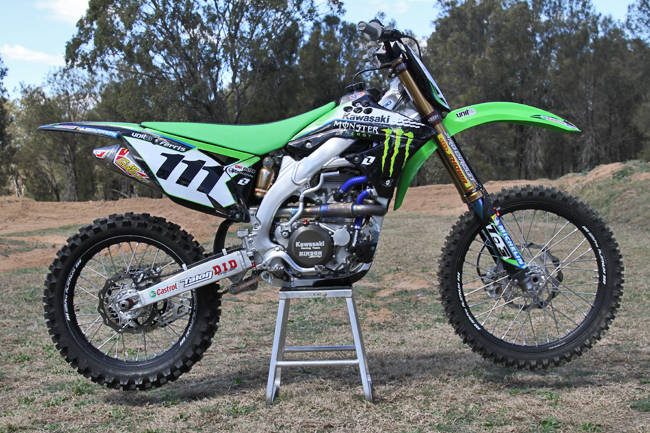 Pro Circuit components are sprinkled throughout the factory Monster Energy Kawasaki KX450F. Image: Alex Gobert.