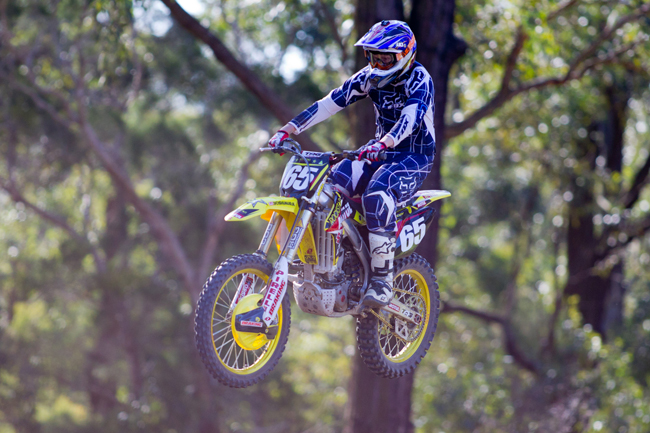 MotoOnline's Guy Streeter rode Rockstar Motul Suzuki's MX Nationals contenders at the launch. Image: Rice Photography.