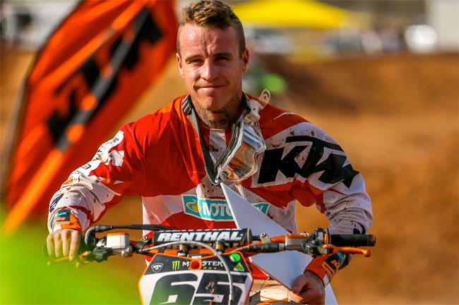 Dan McCoy was all smiles after clinching the Queensland Supercross Championship. Image: KTM/Stephen Hope.